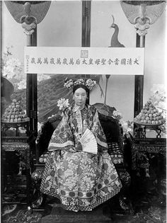 The Qing Dynasty Cixi Imperial Dowager Empress On Throne