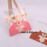 Grátis frete atacado rosa Cubs auto-adesivas de plástico de alimentos sacos doces / lanche / Donuts sacos de embalagem 10 * 11 + 4 cm