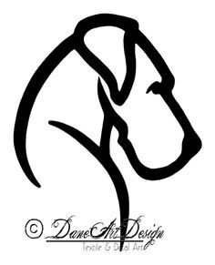 Large Great Dane Vinyl Decal With Natural Ears by DaneArtDesign, $15.00