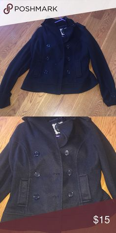 EUC Fleece Pea coat No stains or tears!! Black fleece coat. 2 front pockets. Jackets & Coats