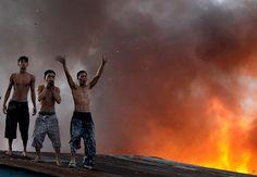 Fire in a Manila slum