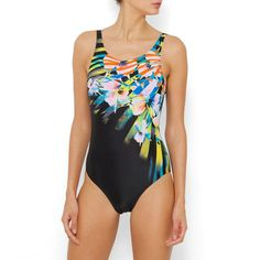 Printed Swimsuit with U-Shaped Back