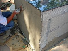 DIY outdoor kitchen with stucco