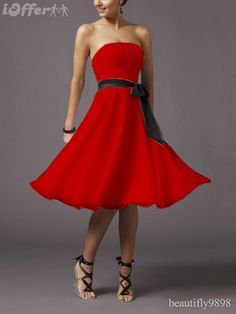 Red Bridesmaid Dress with Sash