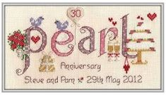 image of Pearl Anniversary Cross Stitch Kit Cross Stitch Love, Cross Stitch Pictures, Cross Stitch Samplers, Cross Stitch Animals, Cross Stitch Kits, Cross Stitch Designs, Cross Stitching, Cross Stitch Embroidery, Pearl Anniversary