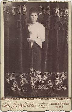 Woman Behind a Curtain - Cabinet Card, Sweetwater, Texas