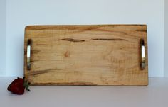 Ambrosia Curly Maple Serving Board with Live Edge and Satin Nickel Hardware by SunKissedLaser on Etsy