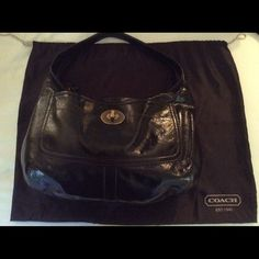 "Genuine COACH chocolate brown patent leather bag Genuine COACH chocolate brown patent leather bag with dust bag.  Never carried, perfect condition.  18"" wide x 12"" height x 6"" wide.  Handles are 16"" fully across. Coach Bags"
