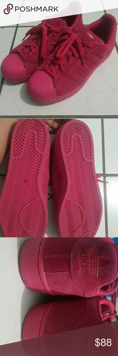 Adidas superstar Pink adidas superstar. Original pair. It has a little stain due to a dye on my jeans. Adidas Shoes Sneakers