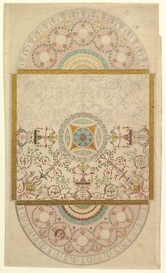 Design for a Ceiling with Square Central Compartment and Semicircular Ends, the Ornament of Foliage and Grotesque Motifs Anonymous, British, late 18th century