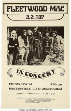 Vintage Music Art - Fleetwood Mac & Z.Z. Top At Bakersfield Civic Auditorium 0822 – Poster - Canvas Print - Wooden Hanging Scroll Frame
