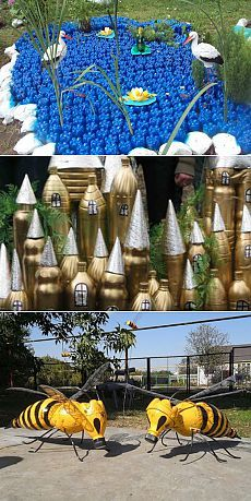 Los artículos de las botellas de plástico: el Lago de la belleza y mucho otro. Water Bottle Crafts, Plastic Bottle Crafts, Recycle Plastic Bottles, Recycled Bottles, Recycled Crafts, Diy And Crafts, Mason Jar Diy, Garden Crafts, Art Festival