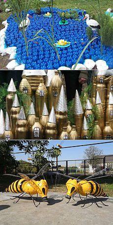 Поделки из пластиковых бутылок: Озеро красоты и многое другое.
