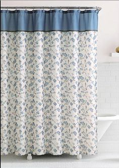 Delancy Floral Fabric Shower Curtain in Shades Of Blue, Khaki & Brown & Hook Set - Shower Curtains
