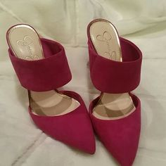 HP!! Jessica Simpson magenta suede shoes Brand new slip on heels. Beautiful magenta color, material suede with box. Excellent condition. I normally wear 6.5, I think these run a little small for a 7. Jessica Simpson Shoes Heels