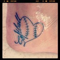 softball tattoo. even though I don't play any more, it is still a huge part of me and what I once was. Beautiful.
