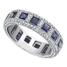 Princess Blue Sapphire & Round Diamond Eternity Wedding Band Bezel Set in  White Gold