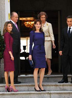 April 27, 2009 - Carla Bruni-Sarkozy with Princess Letizia in Madrid, Spain.