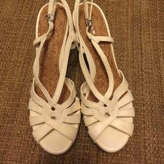 Cream and tan wedges. Never worn. Gianni Bini wedges never worn. Gianni Bini Shoes Wedges