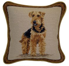 Dog Lover Gifts - Airedale Terrier Needlepoint Pillow – For the Love Of Dogs - Shopping for a Cause