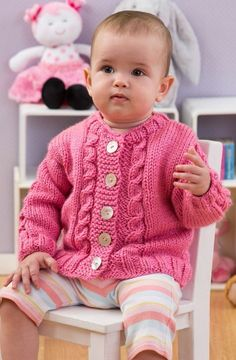 Seeds of Spring Baby Cardi in Red Heart Soft Baby Steps Solids - LW3147 | Knitting Patterns | LoveKnitting
