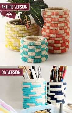 anthropologie, tin cans, planters, ropes, yarn, diy, anthro knockoff, crafts, pencil holders