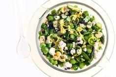 Asparagus, feta and roasted hazelnut salsa