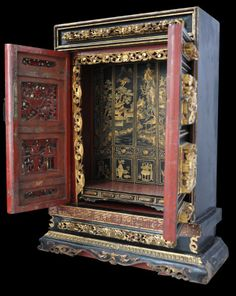 Straits Chinese Altar Shrine Cabinet - Michael Backman Ltd Chinese Culture, Chinese Art, Home Altar, Chinese Furniture, Oriental Design, Chinese Architecture, Home Room Design, Chinese Antiques, Box Art
