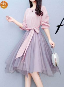 Discover Word Collar Striped Skater Dress online with cheap prices and shop fashion Skater Dresses for any events or occasions at berrylook Korean Fashion Dress, Indian Fashion Dresses, Girls Fashion Clothes, Fashion Outfits, Dress Fashion, Stylish Dresses, Cute Dresses, Beautiful Dresses, Casual Dresses