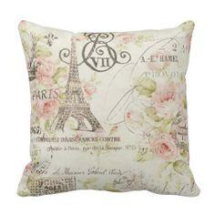 Vintage Floral Paris Eiffel tower decor pillow
