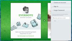 Evernote. Walkthrough integrated behind the log in/sign up