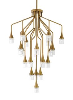 Sophisticated and undeniably beautiful, the twenty-two precisely executed metal stems of the Patrona chandelier light from Tech Lighting each bear a sleek crystal shade illuminated by a gently diffused LED. The stems form tiers which taper at varying angles and lengths to create a stunning, modern interpretation of the classic crystal chandelier.