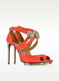 Sea Red Leather Platform Sandal w/Panther - Roberto Cavalli