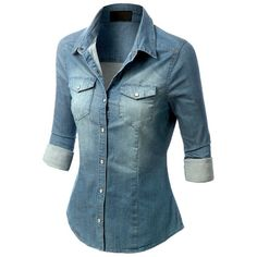LOVE when chambray is tailored, not a fan of the baggy look for shirts or shirt dresses- LE3NO Womens Long Sleeve Chambray Denim Shirt (37 AUD) via Polyvore featuring tops, blue denim shirt, button up shirts, chambray button down shirt, denim chambray shirt and blue button up shirt