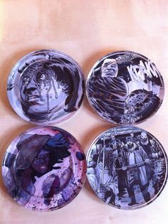 DIY glass coasters: use scrapbook paper or pages from comic books to make unique gifts! These are from The Walking Dead.