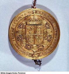 Sceau d'or aux armes d'Angleterre du traite d'Amiens d'aout 1527, alliance entre le roi d'Angleterre Henri VIII et le roi francais Francois Ier contre l'empereur Charles Quint.