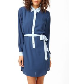 Contrast Trimmed Shirtdress | FOREVER 21 - 2000049870