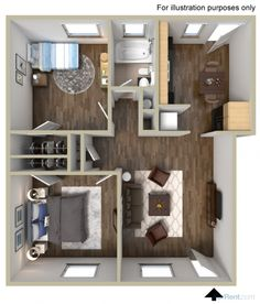 The Soma model at The Broadway at East Atlanta is 900 square feet and has 2 very generously sized bedrooms and a bathroom. You can do a lot with this floorplan!