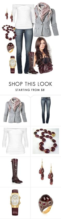 """Garnet/Gold/Gray"" by manda3482 ❤ liked on Polyvore featuring Kathy Van Zeeland, James Perse, Diane Von Furstenberg, Gionni, Philip Stein and Sevan Biçakçi"