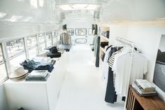 Buck Mason Converted a Vintage School Bus Into Gorgeous Mobile Retail Space. A master class in smart shopping.