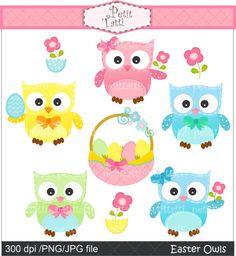 Easter day Digital clip art Easter Owls egg baskets by petittatti, $4.80
