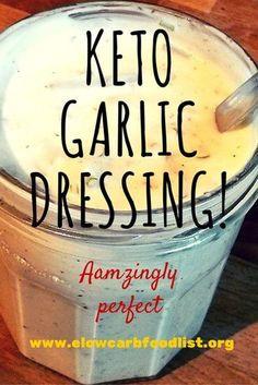 Keto (LCHF / Low Carb) Diet Garlic Salad Dressing Hey everyone. I've modified… Keto (LCHF / Low Carb) Diet Garlic Salad Dressing Hey everyone. I've modified… Cetogenic Diet, Keto Diet Plan, Diet Menu, Week Diet, Paleo Diet, Diet Plans, Keto Meal, 7 Keto, Lchf Diet