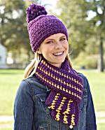 Free Crochet Pattern School Colors Hat and Scarf Set : Lion Brand Yarn Company Bonnet Crochet, Crochet Cap, Crochet Beanie, Crochet Scarves, Knitted Hats, Afghan Crochet, Irish Crochet, Confection Au Crochet, Hat And Scarf Sets