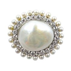 Art Deco Tiffany Diamond and Natural Pearl Brooch. | From a unique collection of vintage brooches at https://www.1stdibs.com/jewelry/brooches/brooches/
