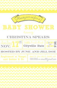 Yellow Chevron Baby Shower Invitation - PRINTABLE!