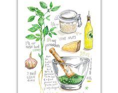 Impresión de la ilustración receta de Pesto de albahaca, hierba acuarela pintura, cartel de comida italiana, arte de cocina, decoración casera, arte de pared de Italia, planta de albahaca