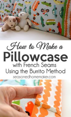 How to Make a Pillowcase Using the Burrito Method. I can teach you how to make a perfect pillowcase using my Burrito Method and this Pillowcase Pattern. Sewing Hacks, Sewing Tutorials, Sewing Tips, Sewing Ideas, Sewing Crafts, Burrito Pillowcase, Pillowcase Bag, Pillowcase Pattern, Pillowcase Tutorial