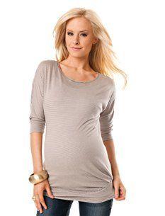 A Pea in the Pod: 3/4 Sleeve V-neck Pleated Maternity T Shirt