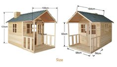 $400 Outdoor Playhouse Wooden Cubby House with Windows and Verandah - JS022