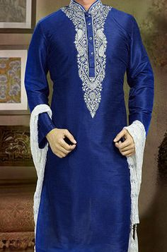 Buy Royal Blue Art Dupion Silk Kurta Pyjama online, SKU Code: This Blue color kurta pyjama for Men comes with Art Silk. Pakistani Mens Kurta, Kurta Men, Indian Men Fashion, Mens Fashion, Fashion Outfits, Embroidered Clothes, Embroidered Silk, Gents Kurta, Mens Kurta Designs